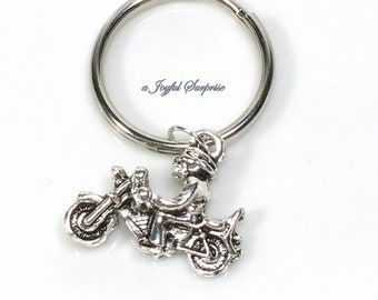 Motorcycle Keychain, Biker's Key Chain, Father's Day Gift for Daddy Keyring, Silver ring Charm Dad Birthday present Hog Bike retirement him