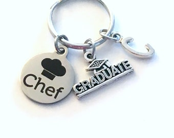 Culinary Graduation Present, 2020 Chef Keychain, Gift for Graduate Key Chain Grad Keyring with Initial letter, Congrats Cooking Pastry 2021