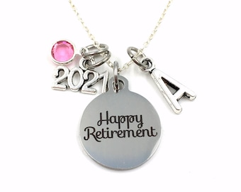 2021 Retirement Necklace / Happy Retirement Jewelry / Women's Necklace / Gift for Best Friend Present / her Co-worker Co worker Coworker