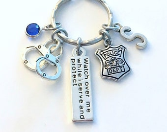 Police Officer Gift for Her or Him Keychain, Watch over me while I serve and protect Key Chain, Policemen Keyring, Graduation present Grad