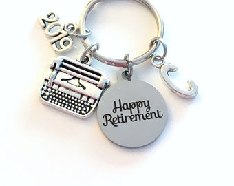 Retirement Gift for Her, Secretary Keychain, 2019 Assistant Key chain with letter Initial Retire Author Writer present men women woman him