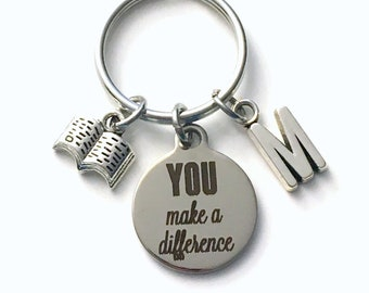 Thank you gift for volunteer reader, Librarian Assistant Keychain, You make a Difference Key Chain School Appreciation Christmas present men