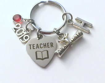 Graduation Gift for Teacher Keychain, 2019 Scroll Principal Teach charm Key chain Keyring Grad birthstone Initial letter for her women purse