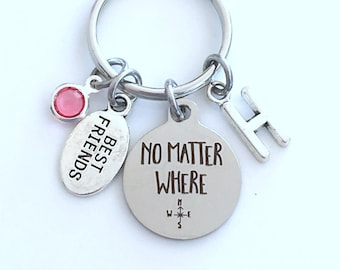 Long Distance Best Friend Gift, Moving Away Present for Guy or Girl Keychain, No matter where Key Chain, Boyfriend Girlfriend relationship