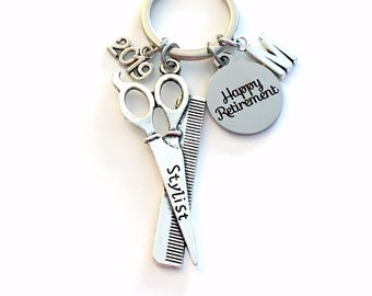 Retirement Gift for Hairdresser Keychain, 2019 Hair Dresser Stylist Key chain Salon Keyring Retire Coworker Initial letter present men 2020
