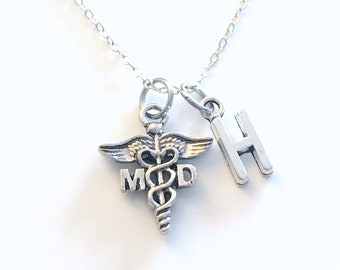 MD Necklace, Gift for Medical Doctor, Physician Jewelry, DR Silver Caduceus Charm Personalized for birthday present men women her coworker
