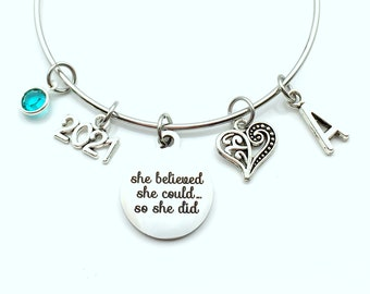 2021 Graduation Gifts for Women Charm Bracelet, She believed she could so she did Jewelry Bangle initial birthstone Present can daughter