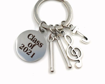 Graduation Gift for Band Student Keychain / Class of 2021 Music Present / Musician Grad Drummer Key Chain / Graduate Keyring / him her teen