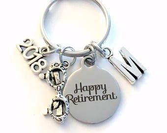Retirement Gift for Ophthalmologist Keychain, 2018 Optometrist Key chain Optometry Keyring Retire Coworker Initial letter present men 2019