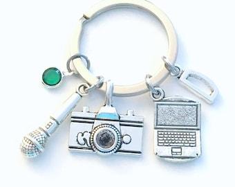 Blogger Keychain, PR Key Chain, Public Relations, Gift for Social Media Keyring, News Reporter, Blog Laptop Microphone, Journalist Camera