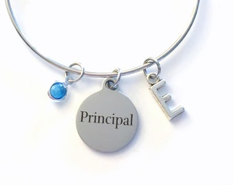 Principal Jewelry, Gift for School Principal Charm Bracelet Silver Bangle Woman Personalized Initial Birthstone birthday Christmas present