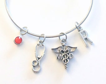 Medical Doctor Bracelet, MD Physician Jewelry DR Charm Bangle, Silver Medical Caduceus Stethoscope, Gift for women birthstone initial letter