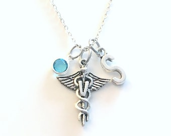 Veterinarian Gift, Vet Necklace, Assistant Jewelry, Silver Caduceus Charm Personalized present for men women him her coworker animal doctor