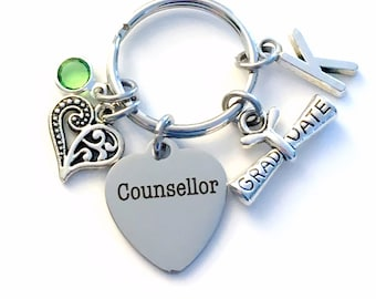 Graduation Gift for Counsellor Keychain, Counselor Key Chain, Initial Birthstone Present Graduate men women her him scroll heart therapist