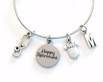 Retirement Gift for Neonatal NICU Nurse Charm Bracelet, 2020 Jewelry Silver Bangle women initial Present her Pediatric Public Health Nursing