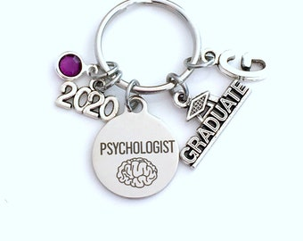 Graduation Gift for Psychologist Keychain, 2020 Psych Student Psychology Grad Key Chain Doctor Keyring Graduate initial letter him her