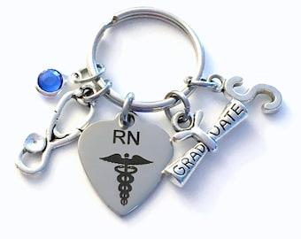 Registered Nurse Graduation Gift, RN Keychain, Medical Nursing Key Chain, Grad Present Stethoscope Keyring women Initial Birthstone her