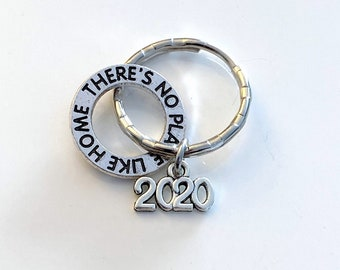 There's no place like home KeyChain 2020, Wicked Key Chain, Keyring Wizard of Oz, Gift for New Home Adoption House warming present her him