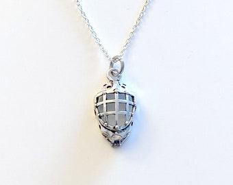 Silver Goalie's Necklace, Face Mask Helmet Jewelry, Gift for Rugby Dad, Christmas Present for Hockey Goalie Man Boyfriend Brother Nephew Son