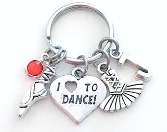 I love to dance Keychain, Gift for Dancer Key chain, Pointe Shoe Keyring Ballet Slipper Ballerina Jewelry Letter initial teen girl tutu her