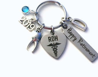 Retirement Gift for RDH Keychain, 2019 Registered Dental Hygienist Keyring, Dentist Retire Key Chain, Present him her women Men Assistant