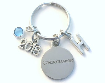 Gift for New Job Promotion KeyChain, Graduation Key Chain, Retirement Keyring Jewelry 2018 Initial Birthstone present women Congratulations