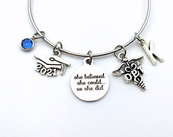Gift for DPT Graduation Present / 2021 Doctor of Physical Therapy Bracelet Jewelry / Charm Therapist, She Believed She could so she did