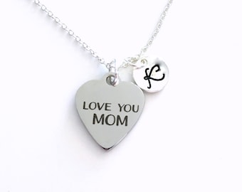 Love You Mom Necklace, Everyday Jewelry for Mom, Simple Jewelry, Gift for Mother's Day, Birthday present from son daughter kids children