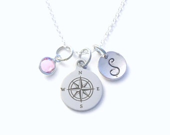Compass Necklace, Going away Present for Daughter, Gift for Graduation Jewelry, Graduate Grad her niece 925 Silver Chain Canadian Seller