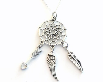 Dream Catcher Necklace, Bohemian Jewelry, Gift for Hippie Boho Charm, Arrow Wing feather pendant Native American Culture, Initial Birthstone