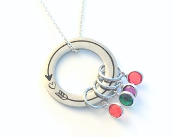 Gift for Mom Necklace with multiple birthstones, Mother's Day Present Jewelry 2 3 4 5 6 7, Valentine's Gift from children kids wife Step her