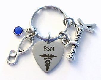 BSN Graduation Gift for Nurse Keychain, Bachelor of Science Key Chain, Grad Present Stethoscope Keyring women Initial Birthstone her him men
