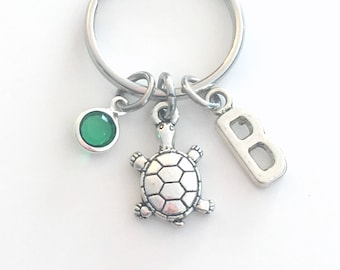Turtle Key Chain, Tortoise KeyChain Keyring Charm Sea animal Gift, Silver Marine Jewelry purse charm planner initial birthstone teenage girl