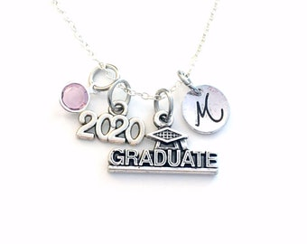 """Graduate Necklace, 2020 Graduation Gift for Student, Silver Grad initial Birthstone custom personalized 18"""" 20"""" 16"""" long short chain Jewelry"""