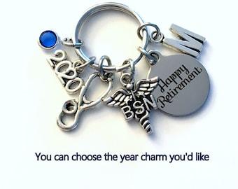 Retirement Gift for BSN Keychain, 2020 Nurse Caduceus Medical Key chain, Keyring Retire Coworker Initial letter RN Nursing registered her