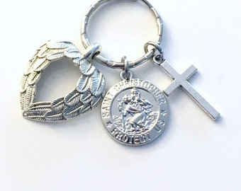 St Christopher Keyring, Safe travel charms Key Chain, Wing Medallion Cross pendant, Saint Chris Keychain, him her man new driver men women