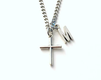 Cross Necklace for Men, 3mm Stainless Steel Curb Chain won't tarnish, Crucifix Jewelry, Religious Gift for Man confirmation, Fathers Day boy