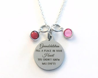 Grandmother Necklace, Grandchildren fill a place in your heart you didn't know was empty Jewelry Multiple Present  Mimi Nana 2 3 4 5 6 7 8 9