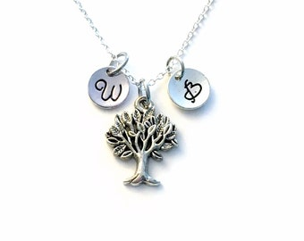 Mother's Necklace, # of initials you want, Family Tree Jewelry, Silver Tree Charm, Family Keepsake Jewelry, Gift for Nana, Grandma Gifts 22