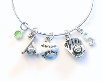 Gift for Softball Player Jewelry, Baseball Bangle, Bats Soft Ball Glove Charm Bracelet, Sports Silver Birthstone initial Base Team Teen girl