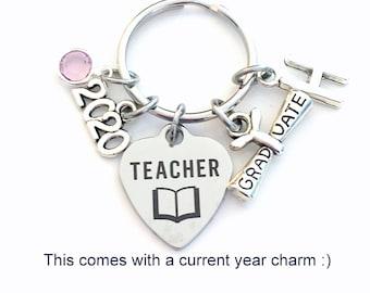 Graduation Gift for Teacher Keychain, 2021 Principal Teach Key chain, Ruler Keyring, Grad Present for Education Graduate, her him men women