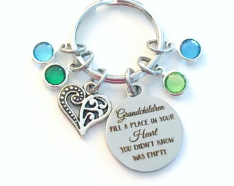 Grandchildren fill a place in your heart you didn't know was empty KeyChain Gift for Grandmother Key Chain mom Multiple 2 3 4 5 6 7 8 9 Nana