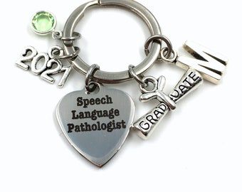Graduation Gift for Speech Language Pathologist Keychain / 2021 Speech Therapy Key Chain / SLP Grad Present Keyring / Personalized Graduate