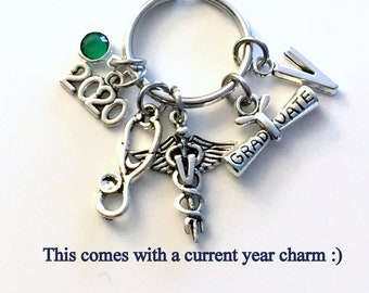 Graduation Gift for Veterinarian Keychain, 2021 Vet Key Chain Keyring for her women letter initial custom Scroll stethoscope him Student