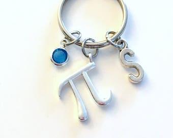 Pi Keychain, Math Key Chain, Science Keyring, Gift for Mathematics Professor Teacher, Letter Men women Her Birthstone Initial Present symbol
