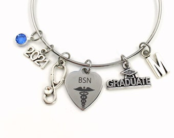 BSN Graduation Bracelet, 2021 Gift for Bachelor of Science Nursing RN Nurse Student Grad Charm Bangle initial in jewelry Stethoscope