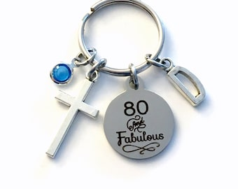 Gift for Eightieth Birthday Keychain, 80 and Fabulous Key Chain 80th her Birthstone Initial Present Jewelry Mother Women Age Mom Friend him