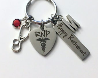Retirement Gift for RNP Keychain, Men Women Nursing Keyring, Registered Nurse Practitioner Key Chain, Present him her charm medical RPN