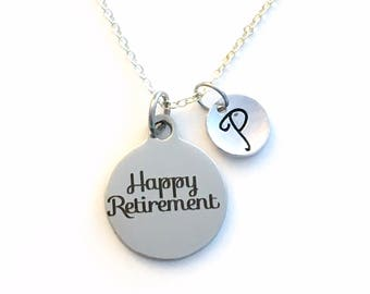 Happy Retirement Necklace, Gift for Co-worker Jewelry, Retire Charm for Coworker Boss Personalized Initial man woman lady men women him her