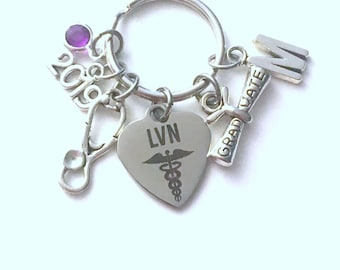 Graduation Gift for LVN Keychain, 2019 Licensed Vocational Nurse Nursing Key chain Keyring women letter initial custom Scroll stethoscope